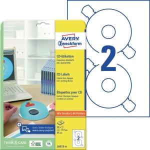 CD/DVD-Etiketten Avery Zweckform L6015-25, Ø 117mm, weiß, 25 Blatt/50 Stück