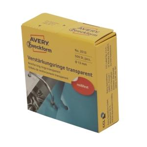 Lochverstärkungsringe Avery Zweckform 3510, Ø 13 mm, transparent, 500 Stück
