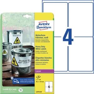 Folien-Etiketten Avery Zweckform L4774-20 99,1x139mm (LxB) we 20 Blatt/80 Stück