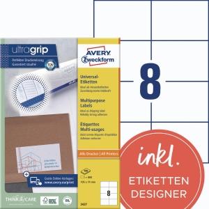 Universal-Etiketten Avery Zweckform 3427 105x74mm weiß 100 Blatt/800 Stück