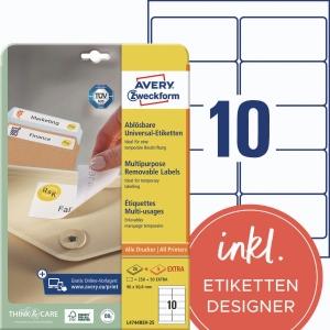 Etiketten Avery Zweckform L4744REV-25 96x50,8mm (LxB) weiß 30 Blatt/300 Stück