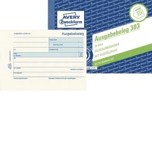 Ausgabebeleg Avery Zweckform 303, mit Dokumentendruck, A6 quer, gelb, 50 Blatt