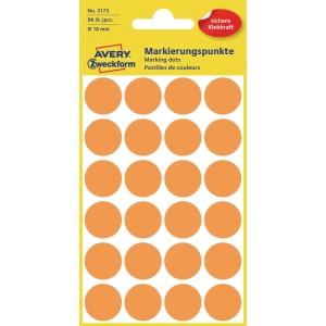 Avery Zweckform 3173 Markierungspunkte, Ø 18 mm, 4 Bogen/96 Stück, leuchtorange