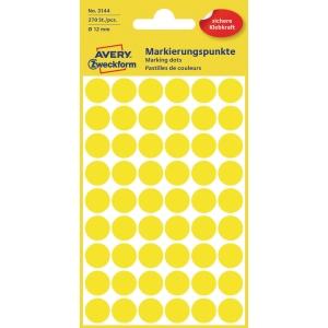 Markierungspunkte Avery Zweckform 3144, Ø 12 mm, gelb, 270 Stück
