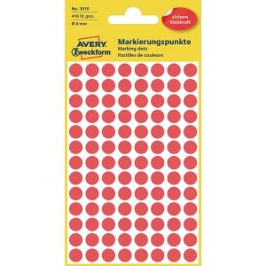 Avery Zweckform 3010 Markierungspunkte, Ø 8 mm, 4 Bogen/416 Etiketten, rot