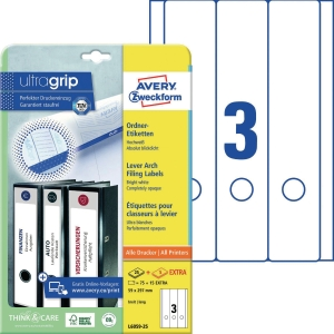 Ordner-Etiketten Avery Zweckform L6059, lang / breit, weiß, 25 Blatt/90 Stück
