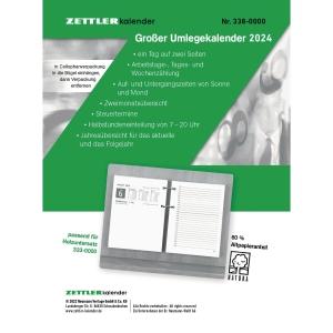 Umlegekalender-Ersatzblock 2019 Zettler 338, 1 Tag / 2 Seiten, 11x15cm