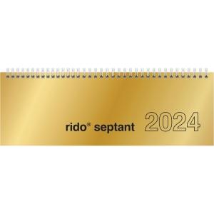 Tischquerkalender 2019 ide 36121 Septant, 1 Woche / 2 Seiten, 30,7x10,5cm, gold