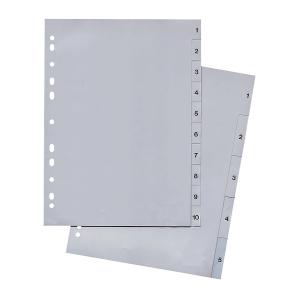 Register Lyreco Budget 1-5, A4, aus Kunststoff, 5 Blatt, grau