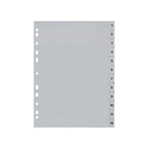 Register Lyreco Budget 1-12, A4, aus Kunststoff, 12 Blatt, grau
