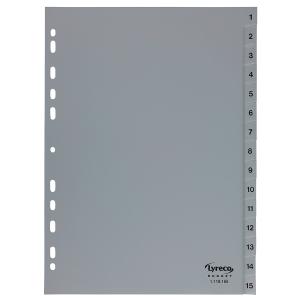 Register Lyreco Budget 1-15, A4, aus Kunststoff, 15 Blatt, grau