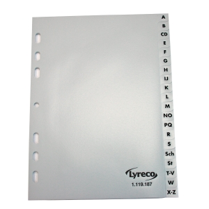 Register Lyreco, A-Z, A5, aus Kunststoff, 20 Blatt, grau