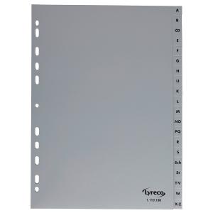Register Lyreco, A-Z, A4, aus Kunststoff, 20 Blatt, grau