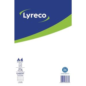 Notizblock Lyreco A4, kariert, Recycling, 50 Blatt