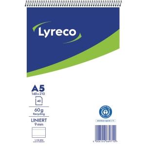 Stenoblock Lyreco A5, liniert, Recycling, rote Mittellinie, 40 Blatt