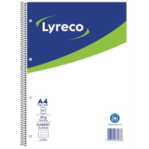 Collegeblock Lyreco, A4, kariert, 60g, 4fach gelocht, Recycling, 80 Blatt