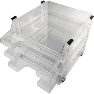 Briefkorb Helit H61013, stapelbar, Maße: 245 x 347 x 67mm, klar, 3 Stück