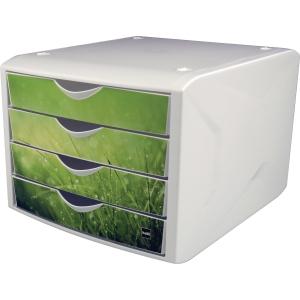 Schubladenbox Helit H6129650, 4 Schubladen, spring grün