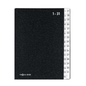 Pultordner Pagna 24321, Tabs 1-31, Einband aus Hartpappe, schwarz