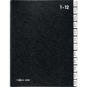 Pultordner Pagna 24121, Tabs 1-12 / Jan.-Dez., Einband aus Hartpappe, schwarz