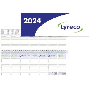 Tischquerkalender 2019 Lyreco, 1 Woche / 2 Seiten, 30,5x10,5cm, weiß