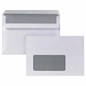 Briefumschläge C6, mit Fenster, Selbstklebung, 80g, weiß, 100 Stück