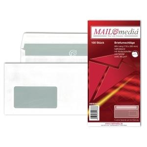 Briefumschläge DIN lang, mit Fenster, Haftklebung, 80g, weiß, 100 Stück