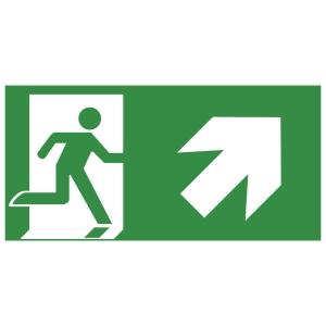 Rettungszeichen Gloria Rettungsweg rechts oben, 15x30cm, grün/weiß