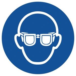 Gebotszeichen Gloria Augenschutz, rund, Durchmesser 200mm, blau/weiß