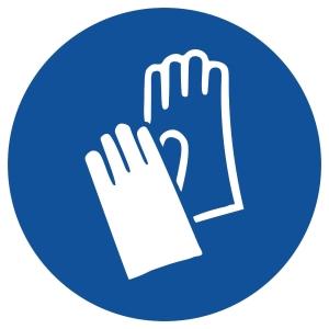 Gebotszeichen Gloria Handschutz, rund, Durchmesser 200mm, blau/weiß