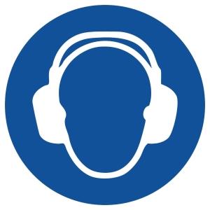 Gebotszeichen Gloria Gehörschutz, rund, Durchmesser 200mm, blau/weiß
