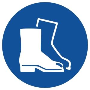 Gebotszeichen Gloria Fußschutz, rund, Durchmesser 200mm, blau/weiß