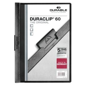 Klemmmappe Durable Duraclip 2209, A4, Fassungsvermögen: 60 Blatt, schwarz