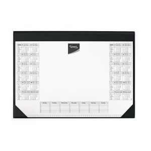 Schreibunterlage Lyreco, 60 x 40cm, mit Kalendarium, schwarz