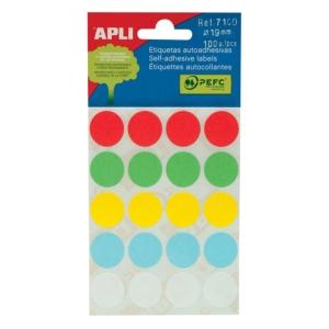 Markierungspunkte Apli 07109, Durchmesser: 19mm, farbig sortiert, 100 Stück