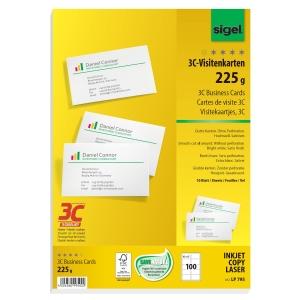 Visitenkarten Sigel 3C LP795, 85 x 55mm, 225g, weiß, glatte Kanten, 100 Stück