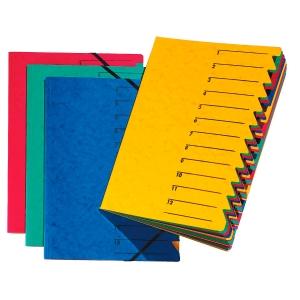 Ordnungsmappe Pagna 24131, 12 Fächer, mit Gummizug, blau
