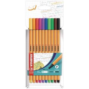 Fineliner Stabilo point 88, Strichstärke: 0,4mm, farbig sort., 10er-Etui