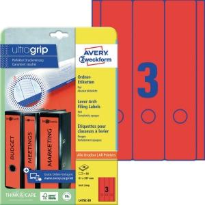 Ordner-Etiketten Avery Zweckform L4752-20 lang / breit rot 20 Bogen/60 Stück