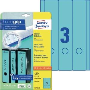 Ordner-Etiketten Avery Zweckform L4753-20  lang / breit blau 20 Bogen/60 Stück