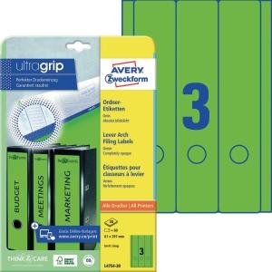 Ordner-Etiketten Avery Zweckform L4754-20 lang / breit grün 20 Bogen/60 Stück