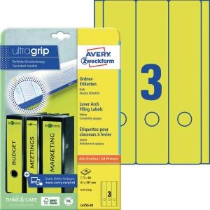 Ordner-Etiketten Avery Zweckform L4755-20 lang / breit gelb 20 Bogen/60 Stück
