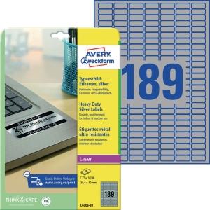 Typenschild-Etiketten Avery Zweckform L6008-20, 25,4x10mm (LxB),sil, 20Bl/3780St