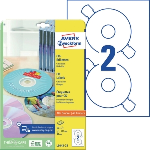 CD/DVD-Etiketten Avery Zweckform L6043-25, Ø 117mm, weiß, 25 Blatt/50 Stüc