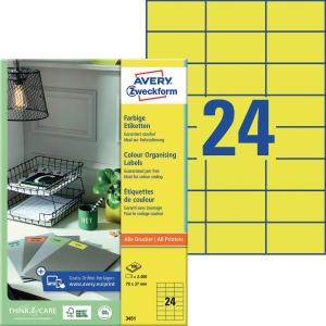 Farbige Etiketten Avery Zweckform 3451 70x37mm gelb 100 Blatt/2.400 Stück