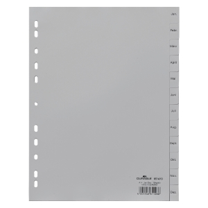 Register Durable 6514 Jan-Dez, A4, aus Kunststoff, 12 Blatt, grau