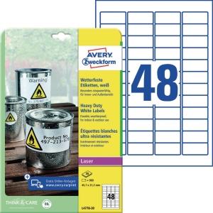 Folien-Etiketten Avery Zweckform L4778-20, 45,7x21,2mm, wetterf., we, 20Bl/960St