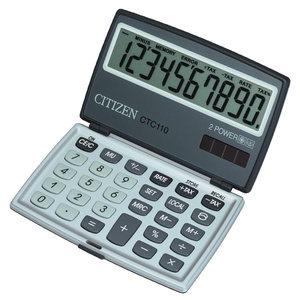 Taschenrechner Citizen CTC110, 10stellig, Solar-/Batteriebetrieb, silber