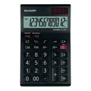 Tischrechner Sharp EL-124TWH, 12stellig, Solar-/Batteriebetrieb, schwarz