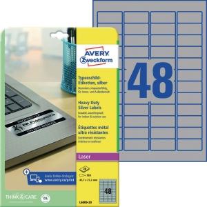 Typenschild-Etiketten Avery Zweckform L6009-20 45,7x21,2mm sil 20Blatt/960 Stück